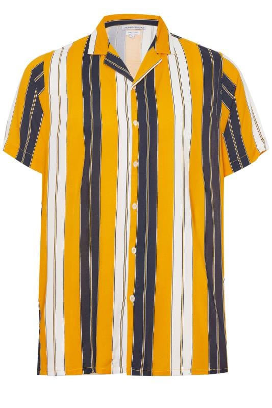 Plus Size Casual Shirts ANOTHER INFLUENCE Orange & Navy Striped Shirt
