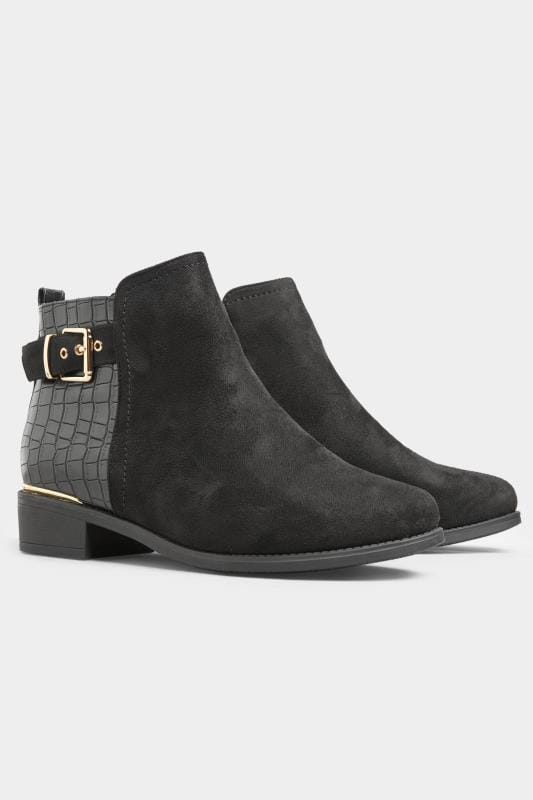 Black Croc Effect Buckle Chelsea Boots In Extra Wide Fit_2cc7.jpg