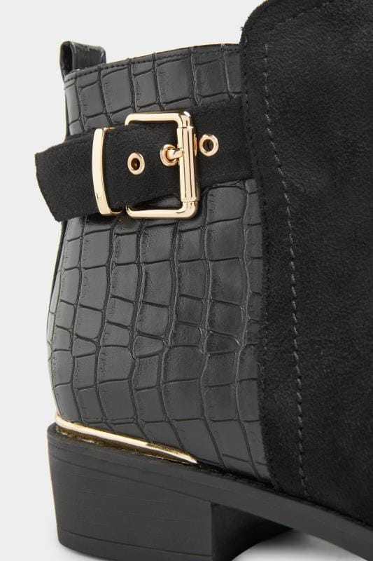 Black Croc Effect Buckle Chelsea Boots In Extra Wide Fit_7273.jpg