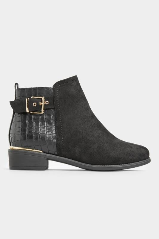 Black Croc Effect Buckle Chelsea Boots In Extra Wide Fit_c132.jpg