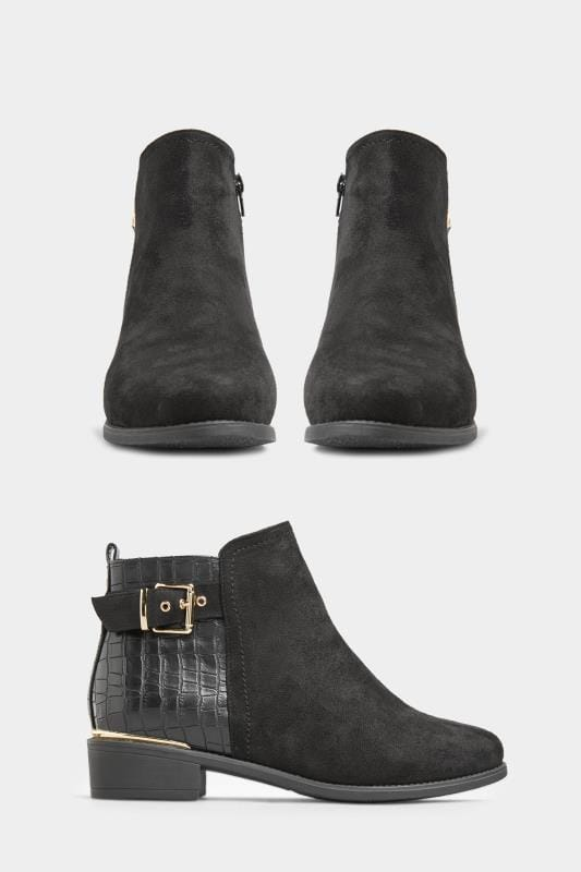Yours Black Croc Effect Buckle Chelsea Boots In Extra Wide Fit