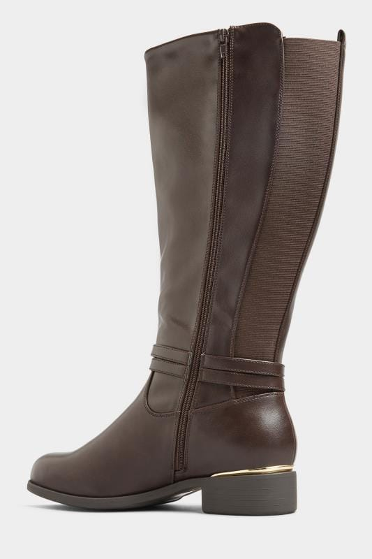 Brown Vegan Faux Leather Wrap Trim Knee High Boots In Extra Wide Fit