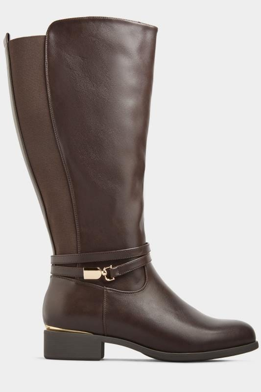 Yours Brown Vegan Faux Leather Wrap Trim Knee High Boots In Extra Wide Fit