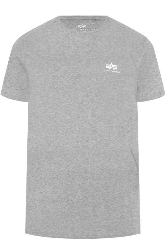 ALPHA INDUSTRIES T-Shirt mit Logo - Grau meliert
