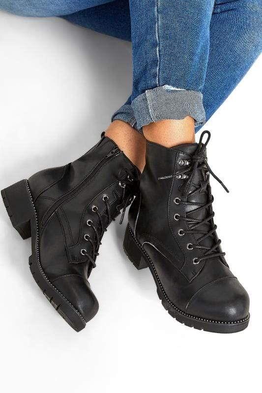 Black Vegan Faux Leather Stud Ankle Boots In Extra Wide Fit