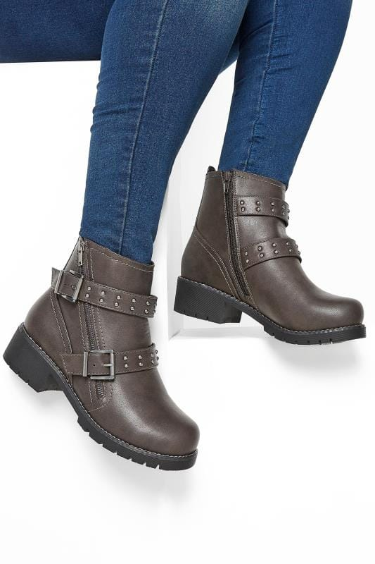 Grey Stud Strap Buckle Ankle Boots In Extra Wide Fit