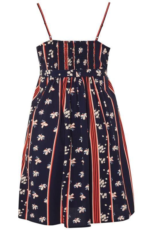 Navy Floral Stripe Wrap Cami Dress