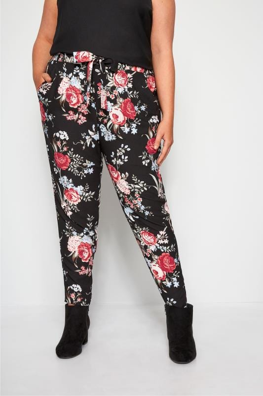 Tapered & Slim Fit Trousers dla puszystych Black Rose Floral Tapered Trousers