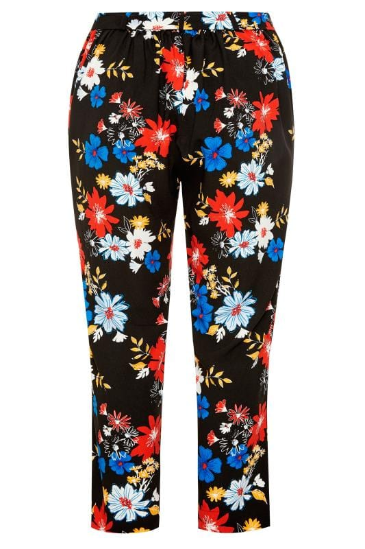 Black Bright Floral Tapered Trousers