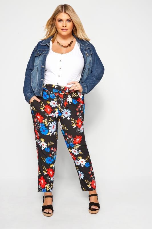 Pantalon Noir Ample Imprimé Floral