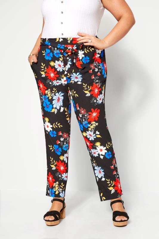 Plus Size Tapered & Slim Fit Trousers Black Bright Floral Tapered Trousers