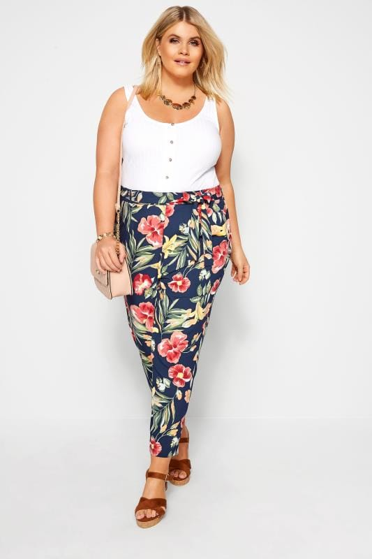 Navy Tropical Floral Tapered Trousers