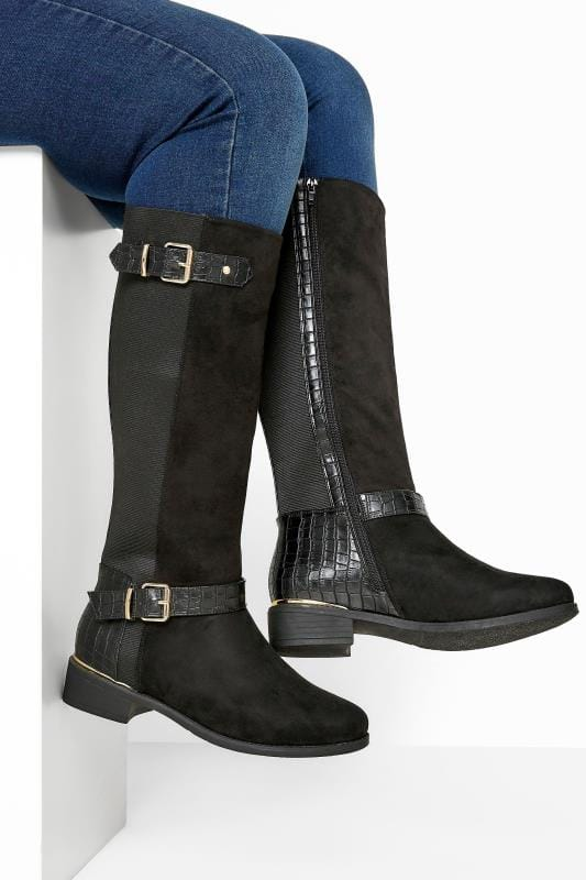Plus Size Beauty Black Faux Suede Croc Stretch Knee High Boots In Extra Wide Fit