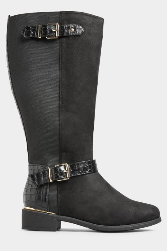 Black Faux Suede Croc Stretch Knee High Boots In Extra Wide Fit