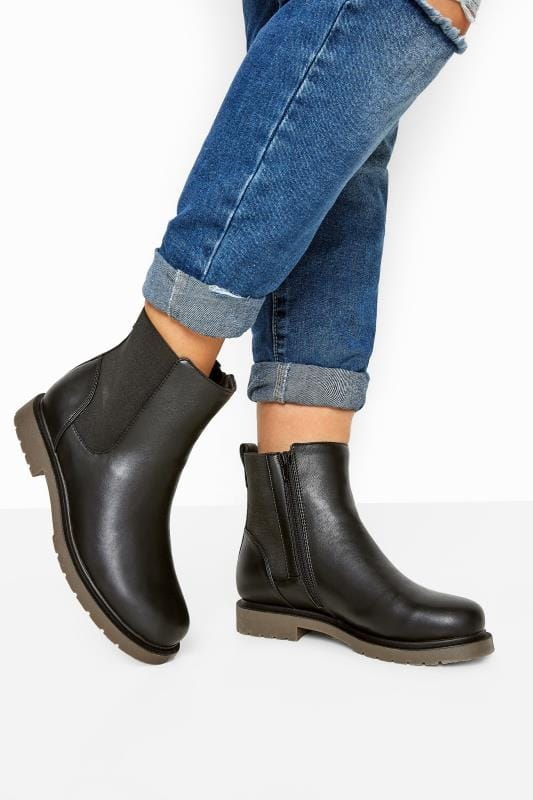 Wide Fit Boots Black Faux Leather Chunky Chelsea Boots In Extra Wide Fit