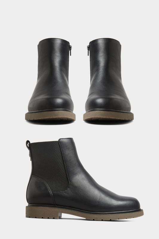 Yours Black Vegan Faux Leather Chunky Chelsea Boots In Extra Wide Fit