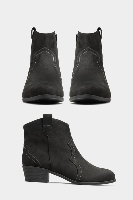 Black Vegan Faux Suede Western Ankle Boots In Extra Wide Fit