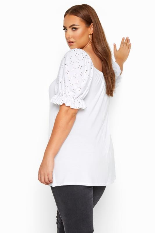 LIMITED COLLECTION White Broderie Anglaise Puff Sleeve Top