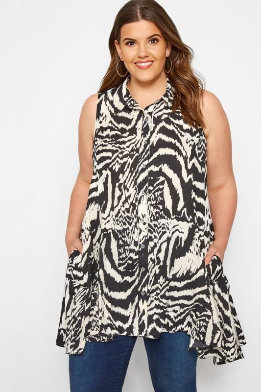 Plus Size Blouses & Shirts Black & White Sleeveless Zebra Shirt