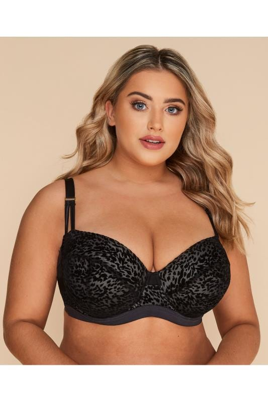 Plus Size Underwired Bras Black Flock Animal Balcony Bra