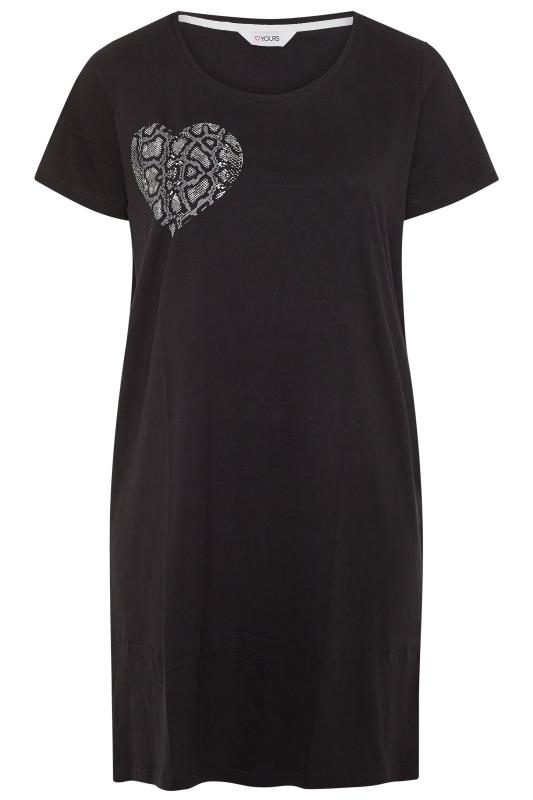 Black Animal Heart Print Cotton Nightdress