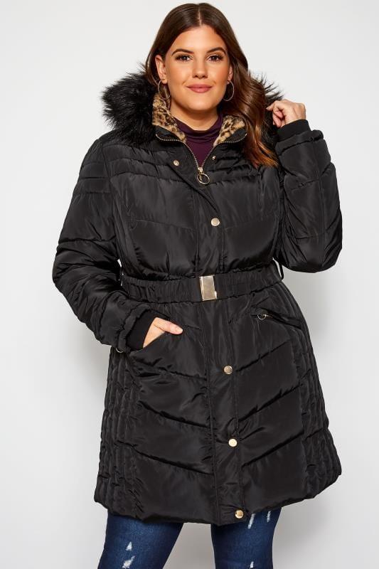 Большие размеры | Зимние куртки Черная дутая парка с леопардовой подкладкой
