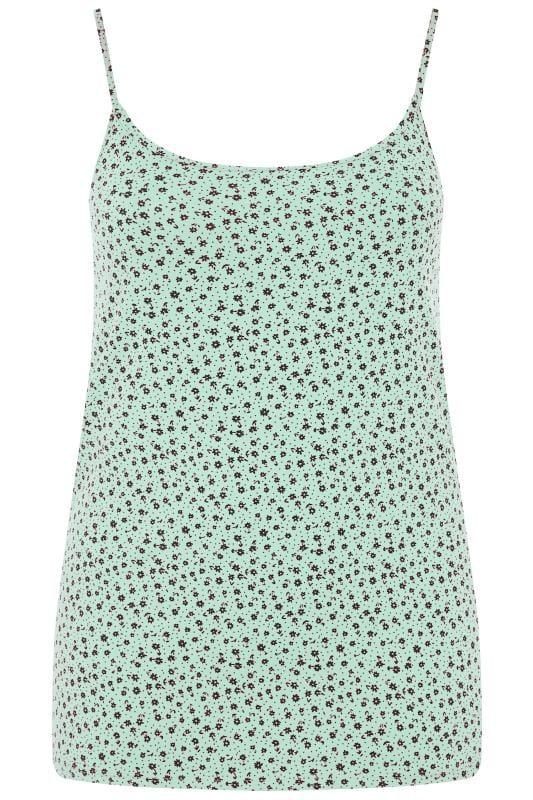 Plus Size Vests & Camis Mint Green Disty Floral Vest Top