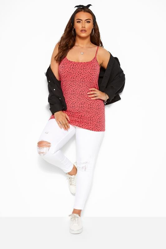 Coral Pink Ditsy Floral Vest Top