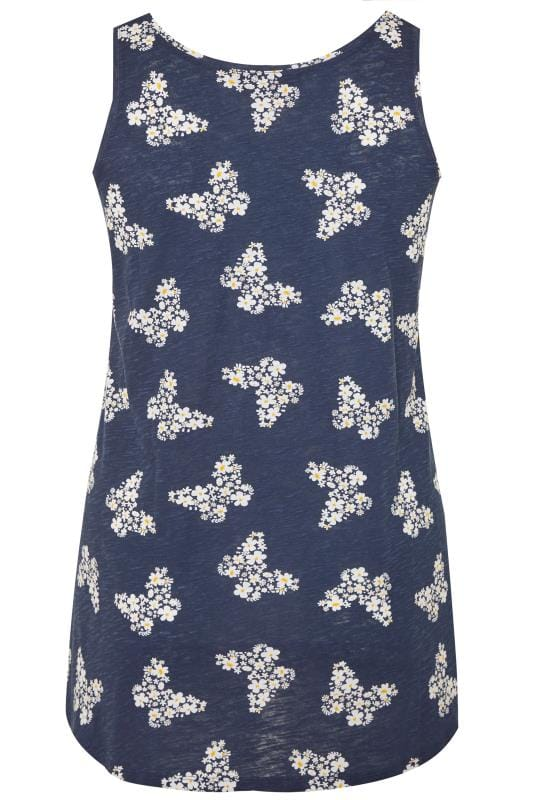 Navy Butterfly Print Swing Vest Top