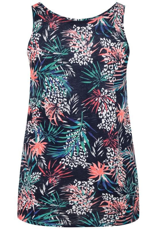Navy Tropical Print Swing Vest Top