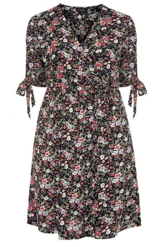 Plus Size Wrap Dresses Black Floral Wrap Dress