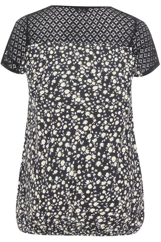 Black Ditsy Crochet Lace Bubble Hem Top