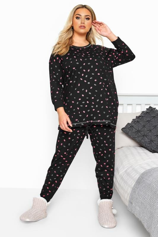 Plus Size Pyjamas Black Glitter Lips Print Drawstring Pyjama Set