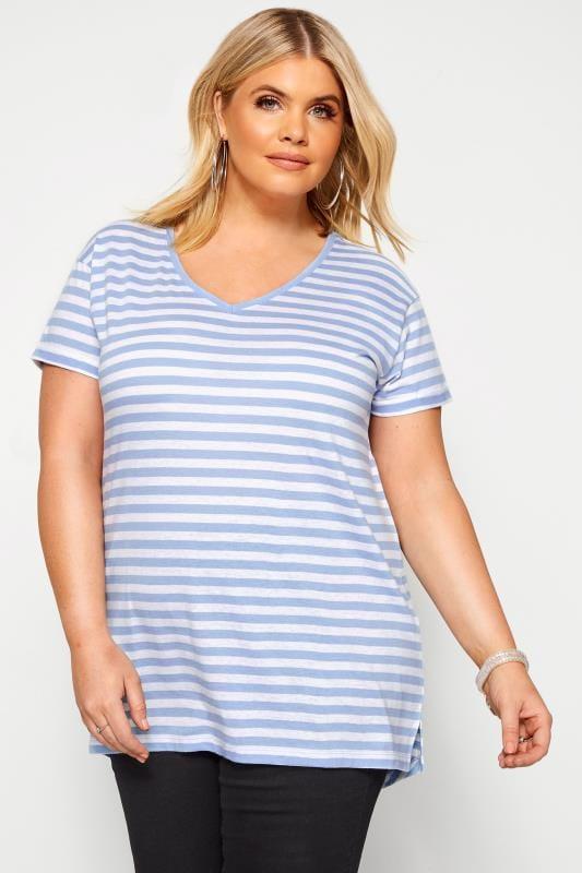 Plus Size Basic T-Shirts & Vests Blue Striped T-Shirt