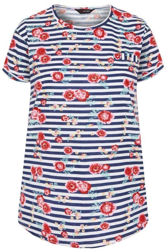 Navy Floral Striped Pocket T-Shirt