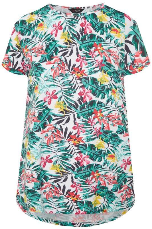 White Tropical Mock Pocket T-Shirt