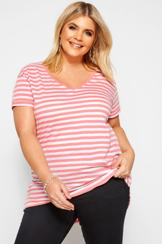Plus Size Basic T-Shirts & Vests Coral Pink Striped T-Shirt