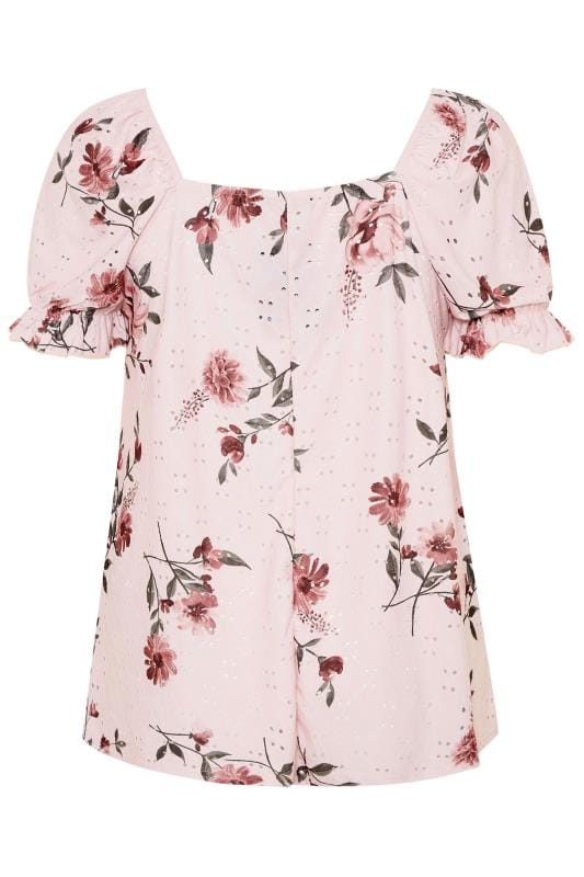 LIMITED COLLECTION Pink Floral Broderie Anglaise Top