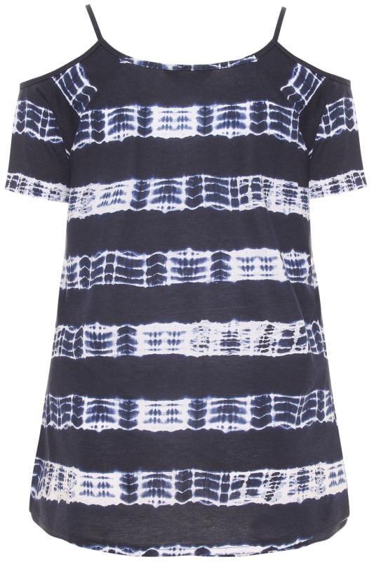 Navy Tie Dye Strappy Cold Shoulder Top