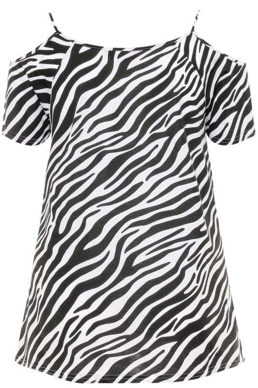 Black & White Zebra Print Strappy Cold Shoulder Top