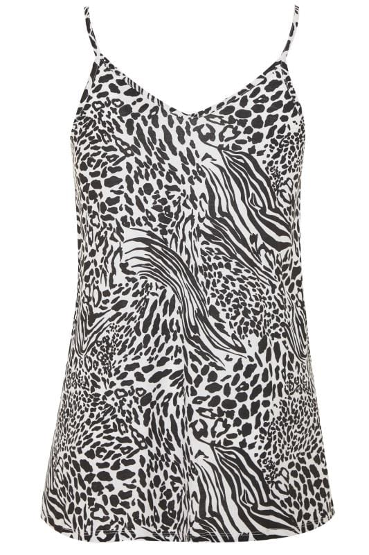 Black & White Animal Print Lattice Swing Cami Top