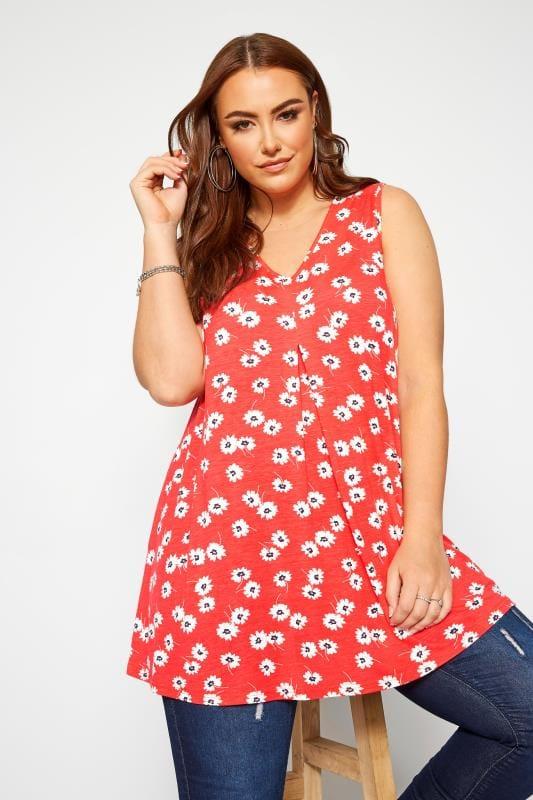 Plus Size Vests & Camis Red Daisy Swing Vest Top