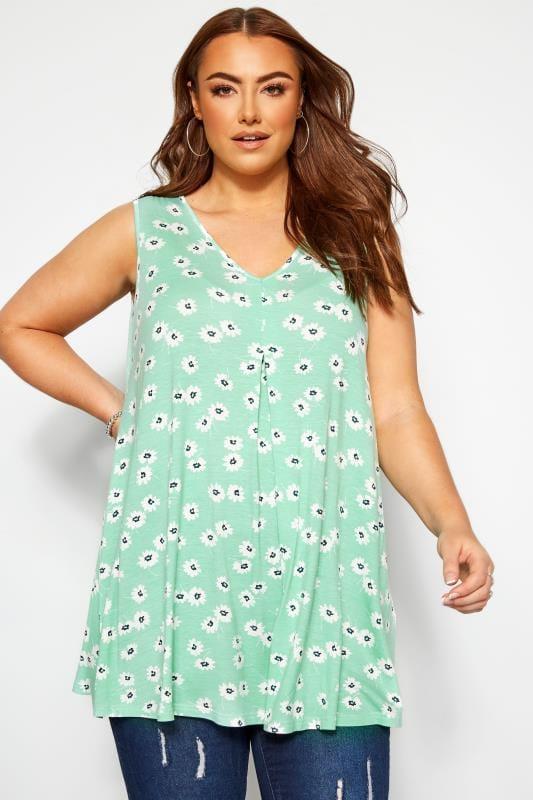 Jersey Tops dla puszystych Mint Green Floral Swing Vest Top