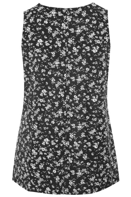 Black Ditsy Floral Swing Vest Top