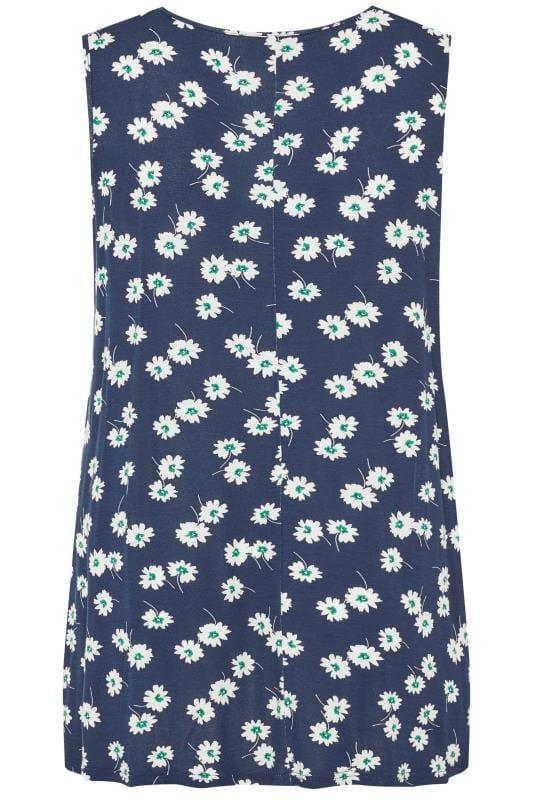 Navy Floral Swing Vest Top