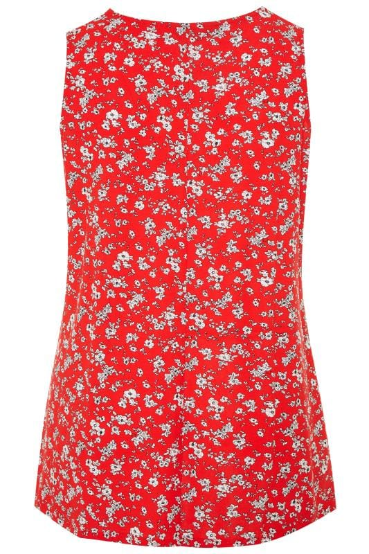 Red Ditsy Floral Swing Vest Top