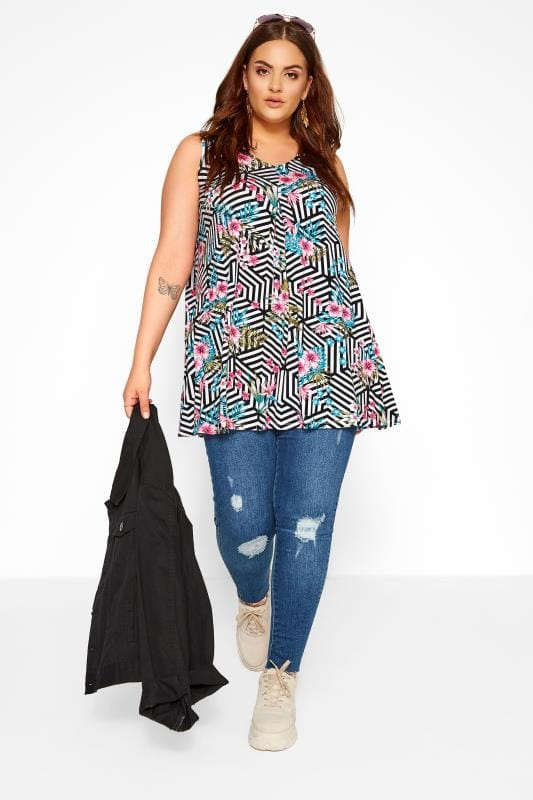 Black & White Geometric Floral Swing Vest Top