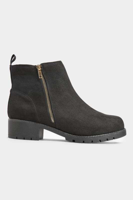 Black Vegan Faux Suede Chunky Boots In Extra Wide Fit