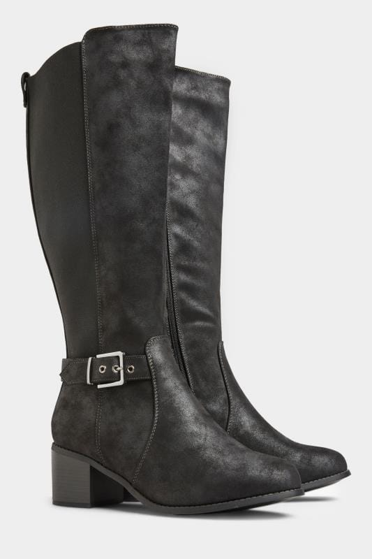 Black Vegan Faux Suede Buckle Knee High Heeled Boots In Extra Wide Fit