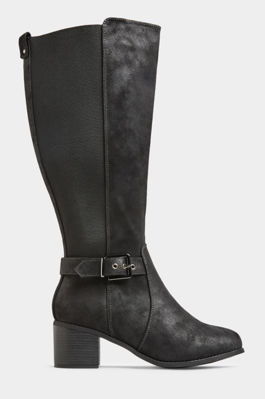 Yours Black Vegan Faux Suede Buckle Knee High Heeled Boots In Extra Wide Fit
